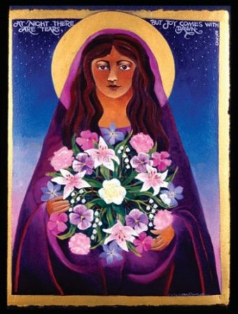 mary magdalene with flowers